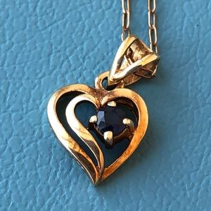 Jewelry - 14k gold Sapphire? Heart pendant 14K G F necklace